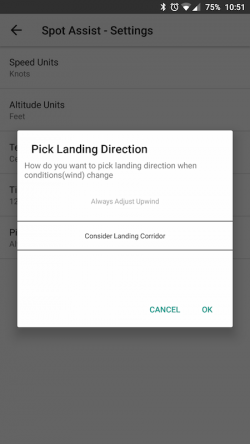 There is an option how to pick landing direction is Settings