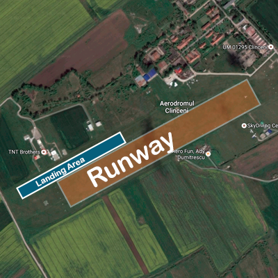 THT Brothers dropzone has very narrow long landing area parallel to the runway. Therefore landing must be in one of 2 directions only, both parallel to the runway.